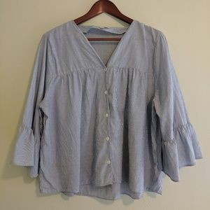 Madewell pinstripe flair sleeve blouse button down
